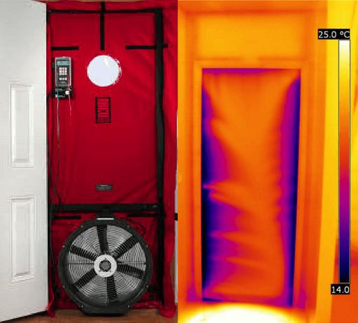 termografia e blower door - enfatizza le inflitarzioni di aria e i difetti di isolamento